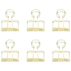 Kikkerland Gold Wire Clips, Set of 6 ($6) ❤ liked on Polyvore featuring home, home decor, office accessories, fillers, gold, kikkerland and gold office accessories