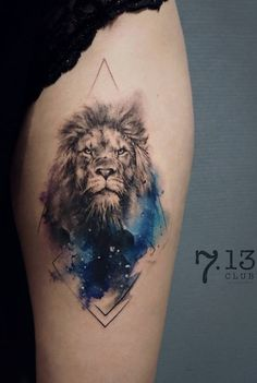 - What is a watercolor tattoo and what are the pros and cons of watercolor tattoos? Undoubtedly this style is one of the most spectacular forms of body art. Lion Back Tattoo, Lion Head Tattoos, Mens Lion Tattoo, Dog Tattoos, Animal Tattoos, Body Art Tattoos, Hand Tattoos, 1 Tattoo, Cover Tattoo