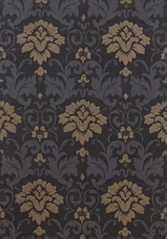 MEADOWSHALL, Black, T7604, Collection Damask Resource 3 from Thibaut