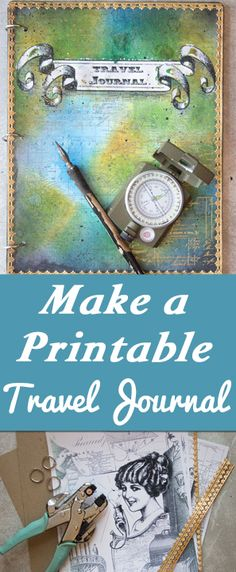 Make a Printable Travel Journal with Heather K Tracy for The Graphics Fairy! So fun to Color it in yourself!