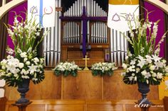large church urns and alter arrangements