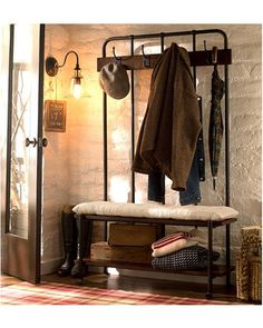A hall tree brings functionality to your entryway. Buy it here: http://www.bhg.com/shop/pottery-barn-benchwright-hall-tree-p505c37bf82a71c80fdfdcfc7.html