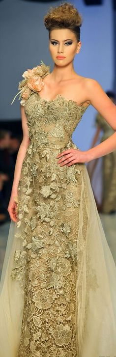 Fouad Sarkis Couture 2014 (but remove the shoulder corsage please) Mode Chic, Mode Style, Beautiful Gowns, Beautiful Outfits, Traje A Rigor, Mode Glamour, Designer Gowns, Couture Dresses, Fashion Dresses