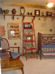 rustic cowboy nursery's | The 2 red wall hangings with the black horse figures were re-purposed ...