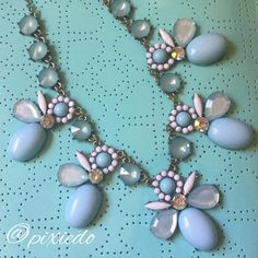 Vintage Inspired Statement Necklace Purely fun costume piece I wore once at my nephew's wedding. Simply sweet blue and white design with just the right touch of bling. Silver tone adjustable metal chain. No missing stones. Perfect for prom! Jewelry Necklaces