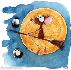 Fly me to the moon... hitching a ride on a broom.