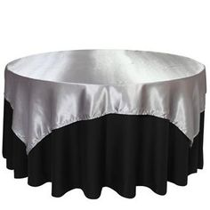 72 x 72 Satin Silver Table Topper Overlay
