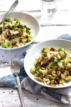 Wondering how to cook risotto? Try this easy to understand tutorial for risotto with brussels sprouts and bacon. It makes for a great fall inspired meal, complete with parmesan cheese and butter to make it extra creamy and delicious. A wonderful dinner recipe for the whole family!