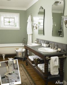 love this vanity and with the romance of the clawfoot tub...perfect vintage/modern combo!  :)