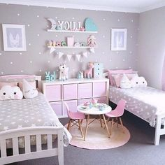 Kids Bedroom Ideas For Girls Bedroom Design Oprecords.boy and girl children bedroom in two colors.kids bedroom ideas for girls kids bedroom paint ideas kids bedroom paint ideas girls little… Cute Teen Bedrooms, Twin Girl Bedrooms, Bedroom For Girls Kids, Baby Bedroom, Little Girl Rooms, Bedroom Decor, Trendy Bedroom, Bedroom Colors, Nursery Decor