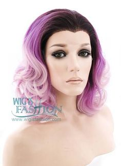 """16"""" Medium Curly Two Tone Pink With Dark Brown Roots Lace Front Synthe 