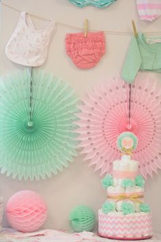 pink x mint green - butterfly Themed babyshower ベビーシャワー party designed by Little Lemonade http://little-lemonade