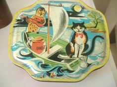 Horner Sweet Toffee Tin featuring The Owl and The Pussy Cat Vintage Tins, Vintage Cat, The Pussycat, Tin Containers, Lipton, Pill Boxes, Bird Cages, Tin Toys, Nursery Rhymes