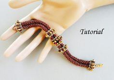 Beaded beads on a peyote rope bracelet tutorial. $ 5.95