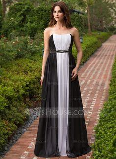 A-Line/Princess Sweetheart Floor-Length Chiffon Charmeuse Evening Dress With Ruffle Beading (022027156) - JJsHouse