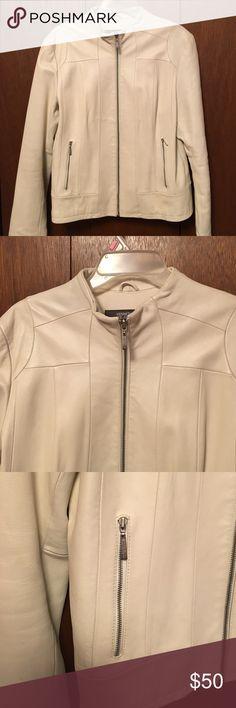 Selling this White Leather Kenneth Cole Biker Jacket on Poshmark! My username is: traceydf80. #shopmycloset #poshmark #fashion #shopping #style #forsale #Kenneth Cole Reaction #Jackets & Blazers