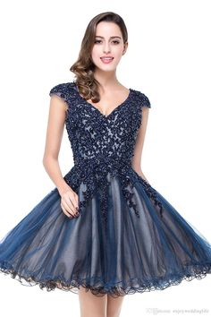 2016 New Sheer Cap Sleeves Tulle Homecoming Dresses Lace Applique Beaded  Backless Mini Short Party Prom e5692d2cf57a