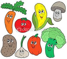 Royalty free clipart illustration of happy veggies. This royalty-free cartoon styled clip art picture is available as a fine art print and poster. Cartoon of Happy Veggies - Royalty Free Vector Clipart by visekart Free Vector Clipart, Free Vector Images, Food Clipart, Children With Autism, Vegetable Cartoon, Cartoon Vegetables, Funny Vegetables, Veggies