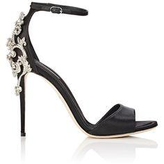 Dolce & Gabbana Women's Bejeweled Ankle-Strap Sandals (17 050 SEK) ❤ liked on Polyvore featuring shoes, sandals, heels, scarpe, sapatos, black, embellished sandals, black sandals, black jeweled sandals and high heel shoes