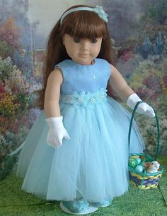 Blue Organza and Tulle Easter Dress Complete by MyGirlClothingCo, $39.00