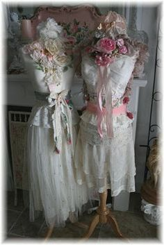 Shabby chic dress forms @Barbara Wiggins.