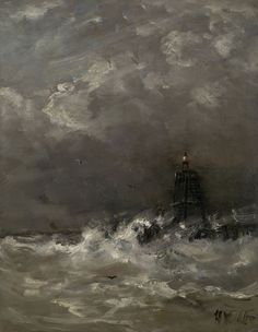 Hendrik Willem Mesdag | c. 1900-1907 | Lighthouse in Breaking Waves