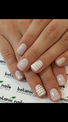 neutral nails with accent - neutral nails . neutral nails with sparkle . neutral nails with accent . neutral nails for pale skin . Short Nail Designs, Gel Nail Designs, Cute Nail Designs, Striped Nail Designs, Striped Nails, Nails With Stripes, Neutral Nail Designs, Nails Design, Stripe Nail Art