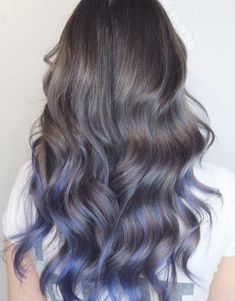 Blue Hair Balayage, Brown Hair With Highlights, Ombre Hair Color, Hair Color For Black Hair, Pink Highlights, Blue Brown Hair, Light Blue Hair, Dyed Hair Blue, Hair Colors