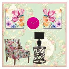 """floral walls"" by k26brooks ❤ liked on Polyvore featuring interior, interiors, interior design, home, home decor, interior decorating, Brewster Home Fashions, Arteriors, Safavieh and Lund London"