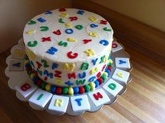 Abc birthday cake Another slice of cake Alphabet Birthday Parties, Alphabet Party, Alphabet Cake, 1st Birthday Party For Girls, First Birthday Cakes, 3rd Birthday, Birthday Ideas, Abc Party, Pastel