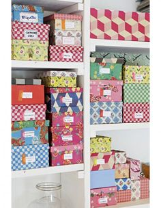 Sweet storage - fabric covered shoe boxes