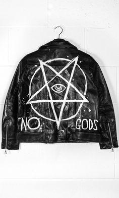 No Gods Leather Jacket #disturbiaclothing disturbia leather biker dress metal silver alien goth occult grunge alternative punk no gods http://bellanblue.com