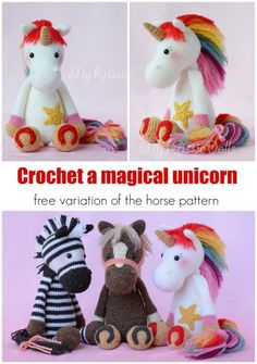 Crochet this magical rainbow unicorn