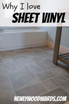 Why I love sheet vinyl - a comparison of sheet vinyl to tile floors.