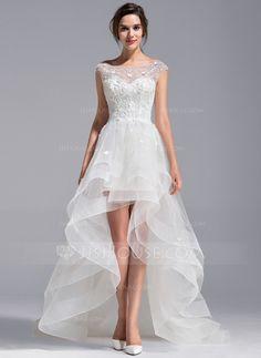 Vestidos princesa/ Formato A Decote redondo Assimétrico Tule Renda Vestido de noiva com Bordado fecho de correr (002071230)