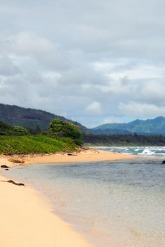 Sandy beach in Kauai ... Want to take my baby there :)