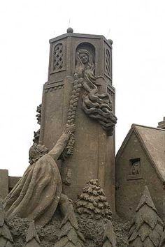 A very tall sand sculpture depiction of Rapunzel at the Harrisand World Championship Sand Sculpture competition.rapunzel
