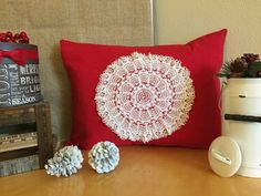 Stunning 1910s French Handmade Doily sewn to Quality Red Christmas Linen and backed by red & white Striped Cotton Fabric.  Creates an elegant Holiday Snowflake Designer Pillow.  Visit us at etsy.com/shop/VintageStoryLinens.