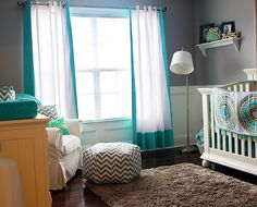 turquoise and owls nursery white gender neutral chevron gray paint walls
