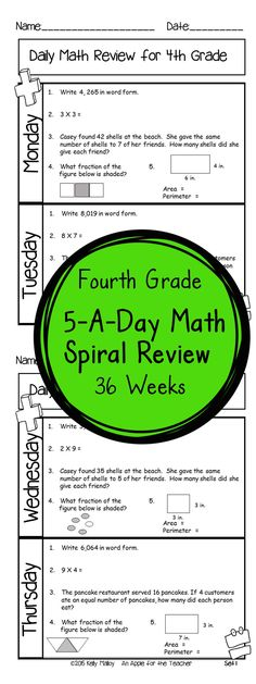 36 weeks of daily Common Core math review for fourth grade! Preview and Review important 4th grade math concepts all year long! Perfect for homework, morning work, or test prep! 5-A-Day: 5 tasks a day, M-Th. 10 Question Quiz Each Friday CCSS M.4 Available for 3rd and 4th grades. Editable Version Included.