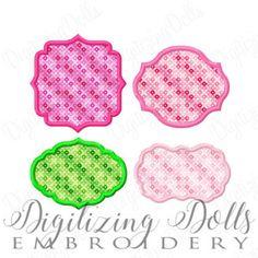 Applique Frame Set 1 - Set of 4 Embroidery Design Digital Files 3x3 4x4 5x5 Font Patch Monogram Mono Name DIY ith INSTANT DOWNLOAD