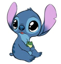 Baby stitch holding a baby frog! <3