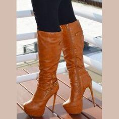 Knee High Platform Boots, High Heel Boots, Shoes Heels Boots, Heeled Boots, Knee Boots, High Heels, Girls High Heel Shoes, Heel Boots For Women, Sexy Boots