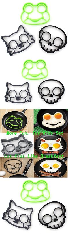 Set of 3 - ZICOME Utensils Premium Silicone Frog Mold Cat Mold Skull Mold - Great Egg Molds for Funny Side Up Eggs - Kitchen gadgets (Cat/Frog/Skull) - More Fun, Toy Kids Set