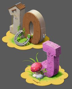 Buildings and Letters for iPhone game. by Tatiana Maifat, via Behance