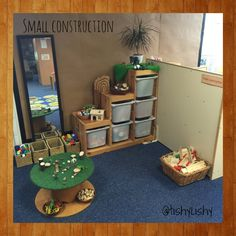 Small World Set-Up Idea (from Tishy Lishy) -- I like the step storage and round table -- now where would I put it? Construction Area Eyfs, Construction Area Early Years, Eyfs Classroom, Classroom Displays, Classroom Decor, Eyfs Activities, Nursery Activities, Classroom Setting, Classroom Design