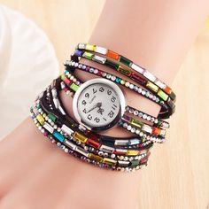 Fashion Dress Colors Leather Ladies Watch Women Casual Quartz Watch Shining Crystal Bracelet Watch Relogio Feminino Montre Femme