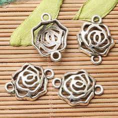 22Pcs Tibetan  Silver Color Hollow Rose Flower Connector Design Ef2631