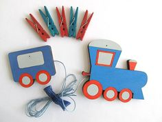 Children's  Artwork display hanger Train  Blue and red by Shellyka