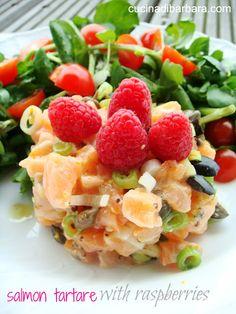 Salmon tartare with raspberries